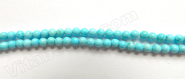 "Light Blue Turquoise  -  Small Smooth Round Beads   16""     3mm"