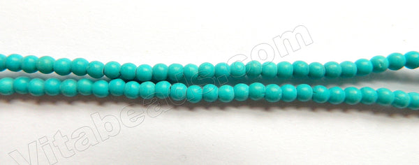 "Synthetic Deep Green Blue Turquoise  -  Small Smooth Round Beads  15""     3mm"