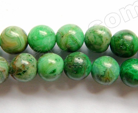 TQ Green Brazilian Agate  -  Smooth Round Beads  16""