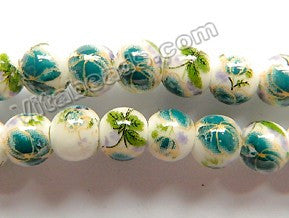 "Porcelain Beads - White w/ Green Flora Beads  13"" Smooth Round"