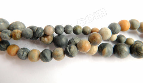 Frosted Picasso Jasper  -  Smooth Round Beads  16""