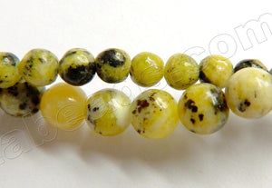 Lemon Chrysophase w Black  -  Smooth Round Beads  15.5""