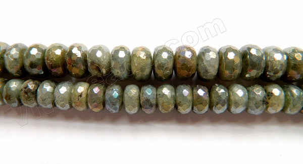 AB Plated Labradorite A  -  Big Faceted Rondels  16""