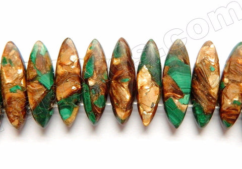 Malachite Bronzite Impression Jasper  -  Double Drilled Marquise  7""