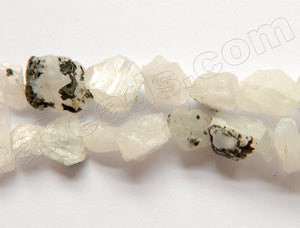 Raw Moonstone w/ Black AAA  -  8-12mm Rough Tumble 16""