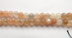 "Light Grey Pink White Moonstone Mixed A  -  Smooth Round Beads  16""     6mm"