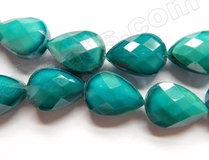 Dark Emerald Quartz  -  Faceted Flat Drop 12.5""