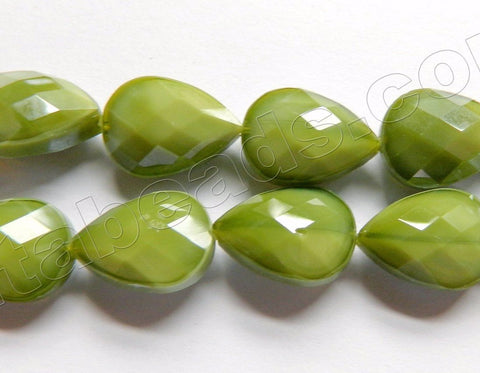 Olive Quartz  -  Faceted Flat Drop 12.5""