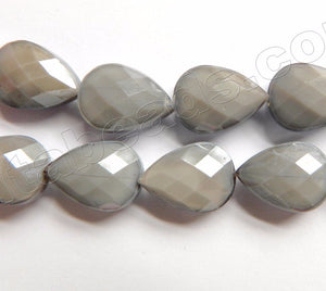 Grey Crystal Quartz  -  Faceted Flat Drop 12.5""