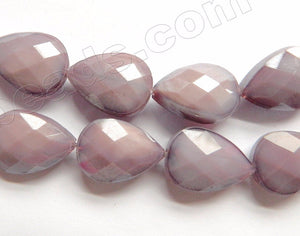 Lavender Chalcedony Quartz  -  Faceted Flat Drop 12.5""