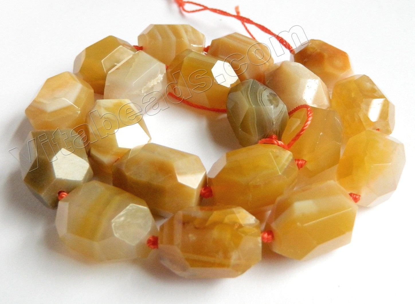 "Yellow Sardonix Agate AA  -  Fine Cut Nuggets w/ Knot  16""     14 x 18 mm"