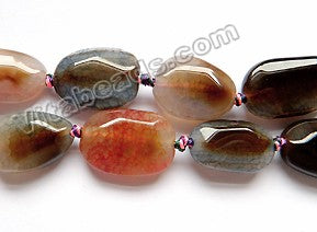 Mixed Tourmaline Fire Agate  -  Faceted Flat  16""