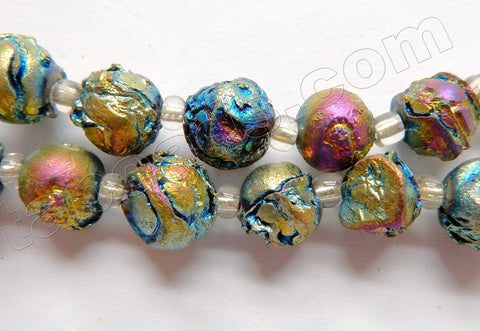 "Peacock Metallic Crystal Natural   -  Carved Rough Rose Beads  8""     10 mm"
