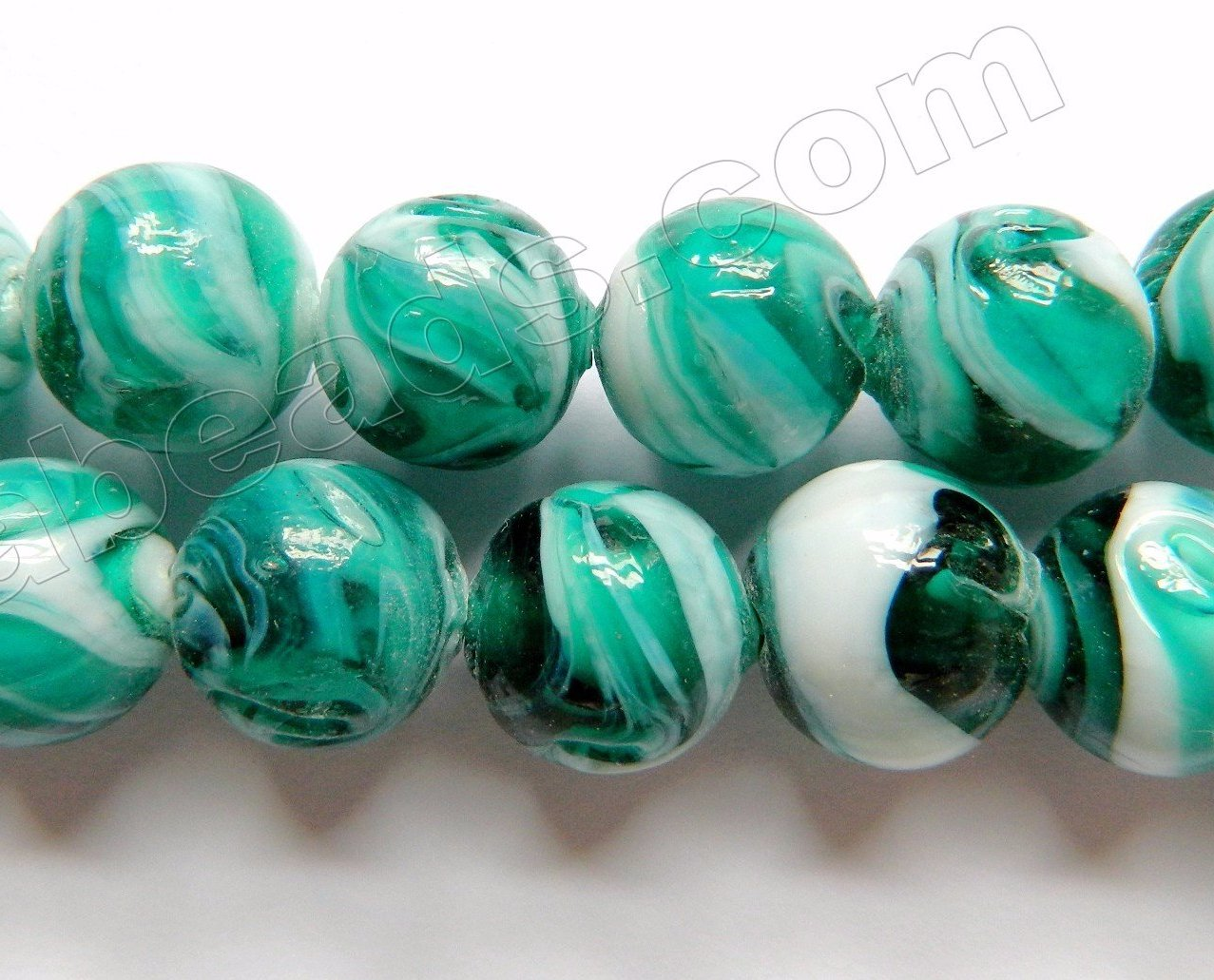 "Emerald White Mixed Glass Beads  -  Carved Rose Swirl Round  11""     14 mm"