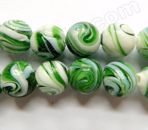 "Olive White Mixed Glass Beads  -  Carved Rose Swirl Round  11""     14 mm"
