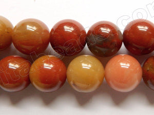 3 Color Carnelian A  -  Big Smooth Round Beads  15""