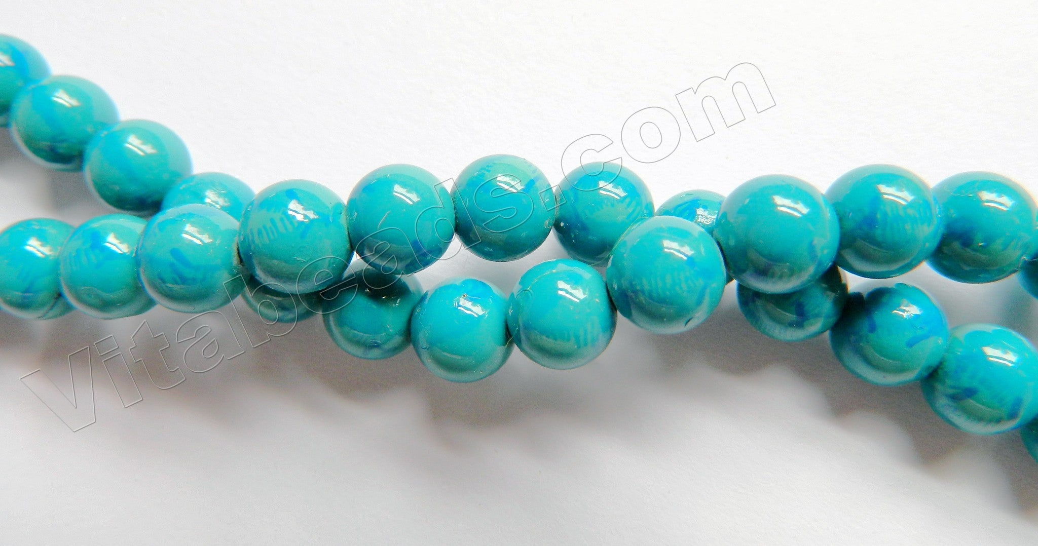 Deep Blue Turquoise Jade A  -  Smooth Round  16""