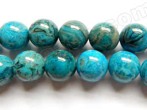 Blue Brazilian Agate Dark  -   Smooth Round Beads  16""