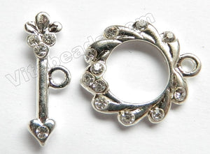 Brass w/ CZ Crystal  -  Wreath Style Toggle 20 mm