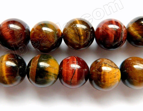 Mixed Yellow Red Blue Tiger Eye  -  Big Smooth Round  16""