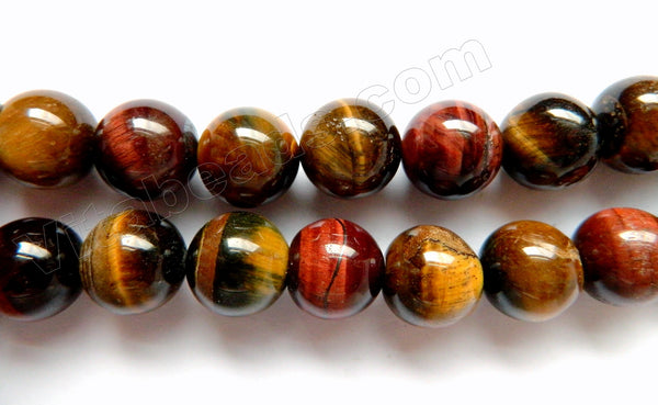 Mixed Yellow Red Blue Tiger Eye  -  Smooth Round  16""