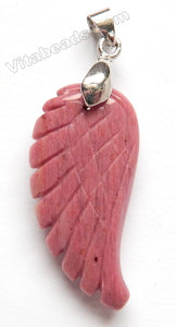 Pink Rhodonite A  -  Big Carved Wing Pendant w/ Bail