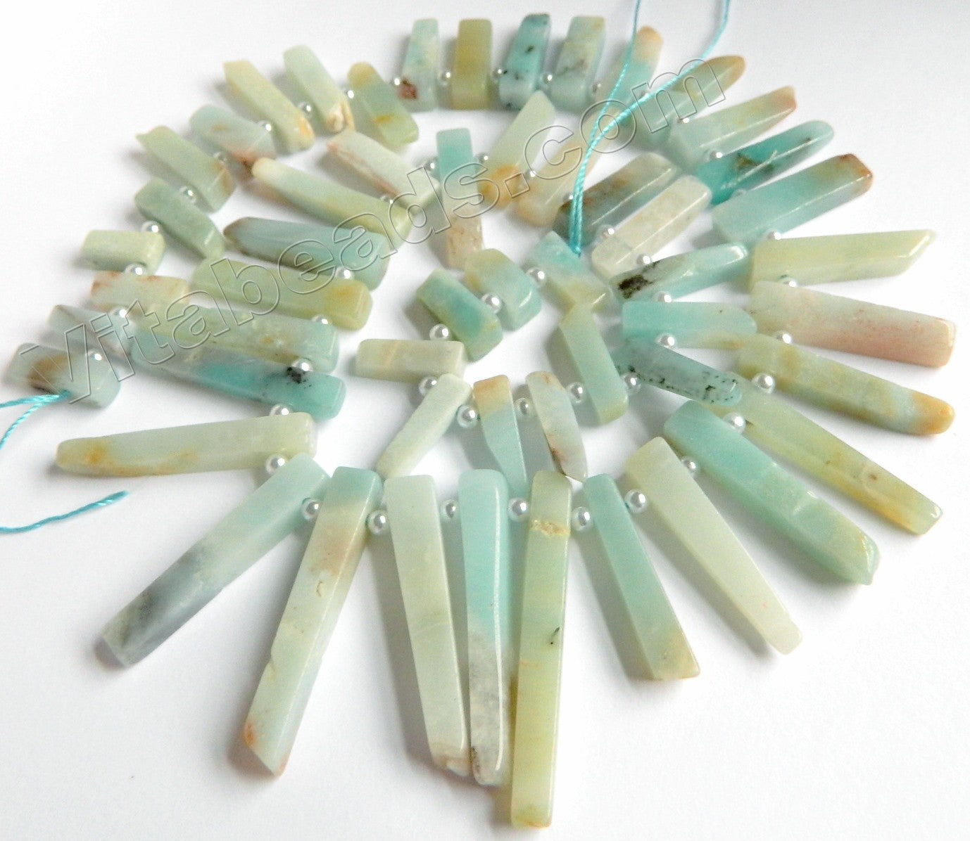 "Golden Amazonite  -  Graduated Thin Long Sticks w/ Spacer 16""     5 x 15 - 40 mm"