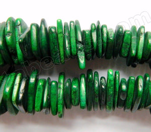 Dark Green Cracked Turquoise  -  Graduated Center Drilled Slices  16""