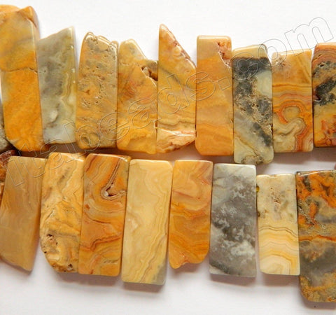 "Yellow Crazy Lace Agate  -  Graduated Top-drilled Long Slabs  16""    10 x 20 - 50 mm"