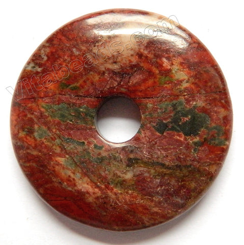 Smooth Pendant - Donut - Fire Impression Jasper - 01