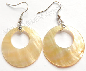 Mother of Pearl - Cream Yellow - Drop Donut Earring Pair