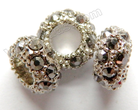 Spacer - Hematite Jet Rhodium Spacer Bead 6 x 11 mm