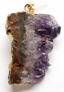 Amethyst Mountain Druzy Pendant -  08 w/ Gold Edge &. Bail