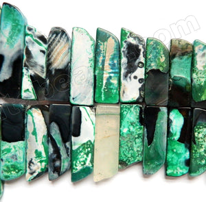 TQ Green Black Fire Agate Jasper  -  Graduated Top-drilled Long Rectangle Slabs  15.5""