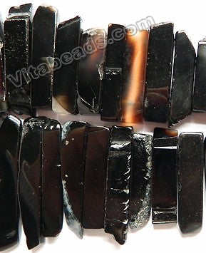 "Black Onyx w Brown AB-  Graduated Top-drilled Long Rectangle Slabs  15""   10 x 20 mm to 15 x 60 mm"