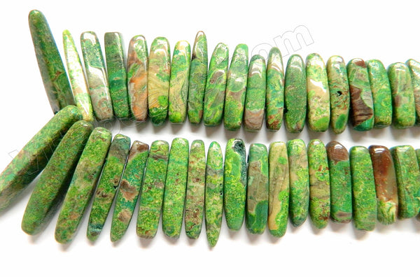 "Green Stripe Jasper  -  Graduated Smooth Top-drilled Long Sticks 16""     6 x 20 - 50 mm"