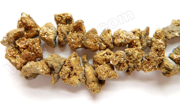 Gold Druzy Crystal  -  Graduated Top Drilled Free From Rough  16""
