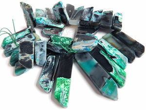 TQ Blue Black Fire Agate Jasper  -  Graduated Top-drilled Long Rectangle Slabs  15""
