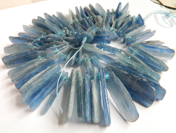 Blue Kyanite Natural AAA  -  Graduated Top Drilled Thin Slices, Sticks  16""
