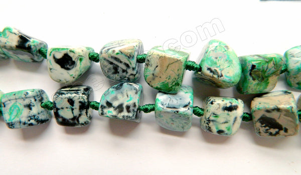 Green Black White Fire Agate  -  Irregular Smooth Cube Nuggets 16""