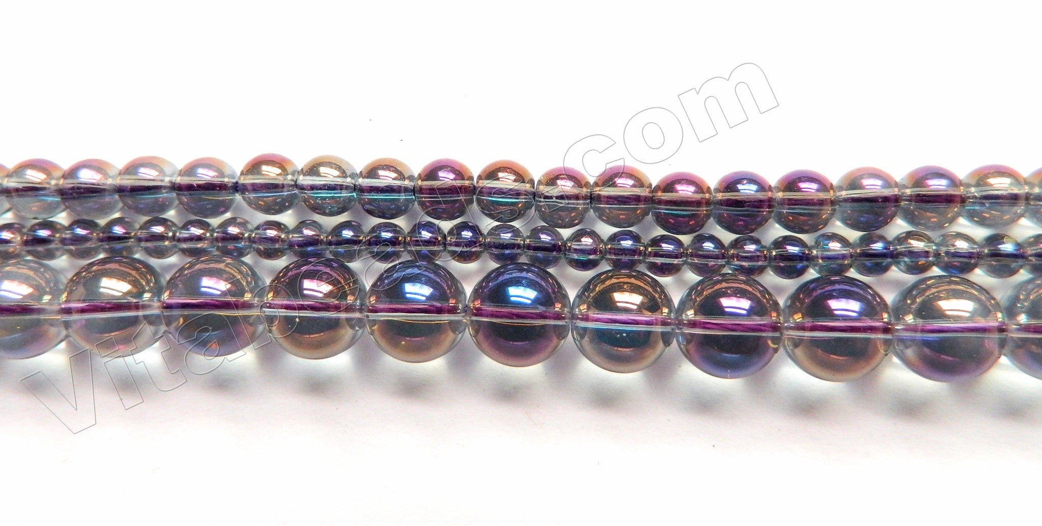 Mystic Coated Purple Blue Crystal Quartz  -  Smooth Round  16""