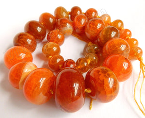 "Orange Red Fire Agate  -  Graduated Smooth Drums 18""   7 x 12 mm to 20 x 30 mm"