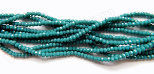 Dark Blue Green TQ Quartz  -  3mm Faceted Rondel  16""