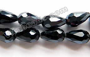 Coated Black Crystal Quartz  -  Faceted Drops  15""