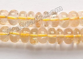 "Citrine Light Natural A  -  Smooth Rondels  16""    8mm"