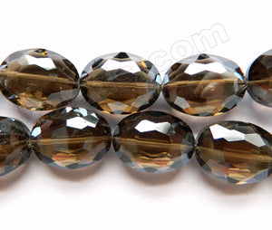 Dark Smoky Crystal Qtz  -  Faceted Ovals  14""