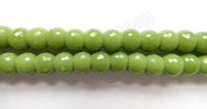 Dark Olive Chalcedony Qtz  -  8x6mm Faceted Drum 9""