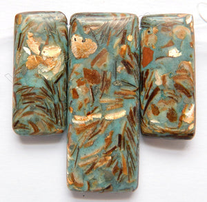 Cyan Impression Prase Jasper   3 pieces Smooth Rectangle Pendant Set