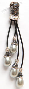 Tassel Pendant w/ Marcasite w/ Silver Bail  -  Grey Shell Pearl Drops     12 x 20 mm Grey Shell Pearl Drop
