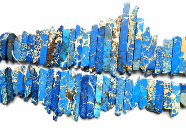 Sapphire Impression Jasper  -  Graduated Top-drilled Thin Long Rectangle Slabs  16""